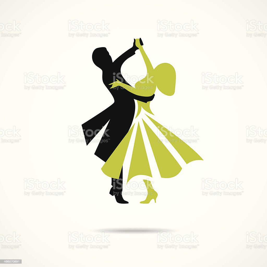 Dancing couple isolated on a white background vector art illustration