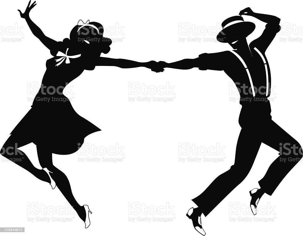 Dancing couple silhouette vector art illustration