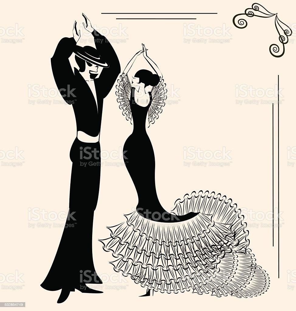 dancing couple vector art illustration