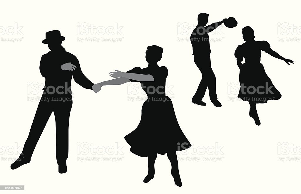 Dancing Couple Vector Silhouette royalty-free stock vector art