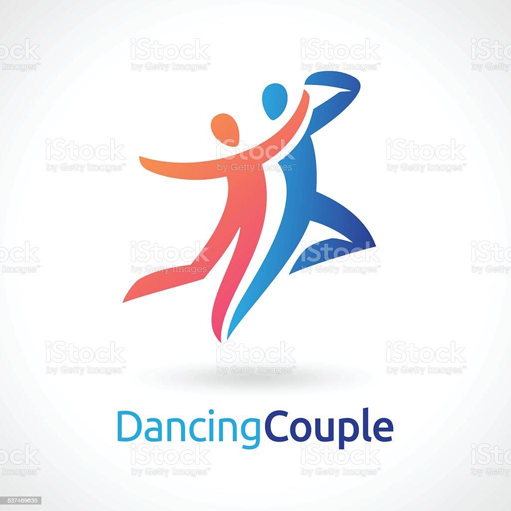 Dancing Couple Vector Symbol vector art illustration