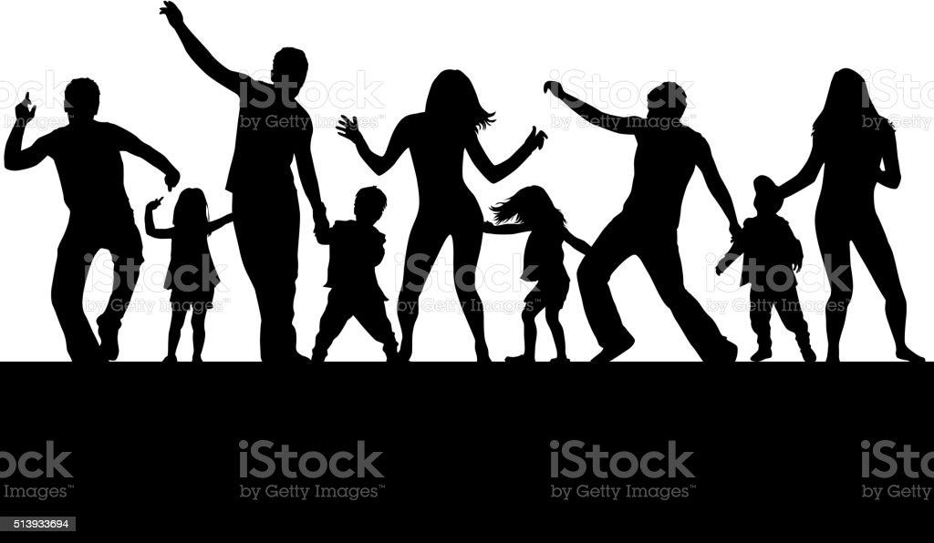 Dancing family silhouettes. vector art illustration