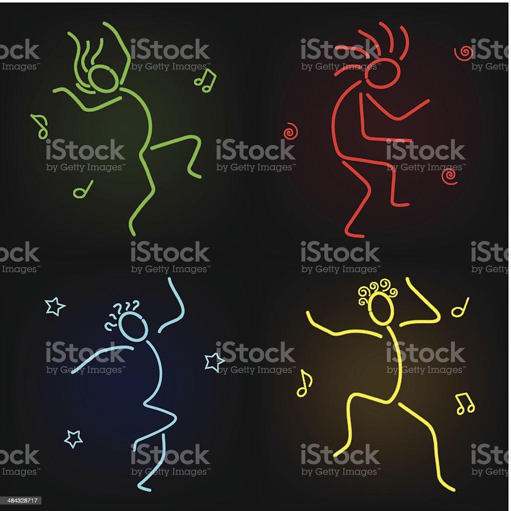 Dancing figures icons vector art illustration