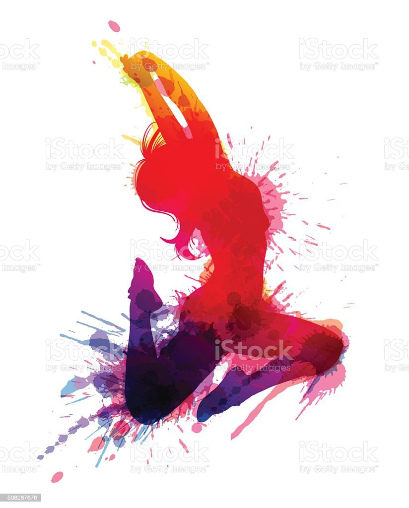 Dancing girl with grungy splashes vector art illustration