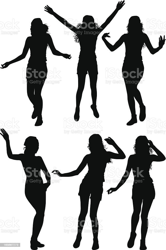 Dancing Girls vector art illustration