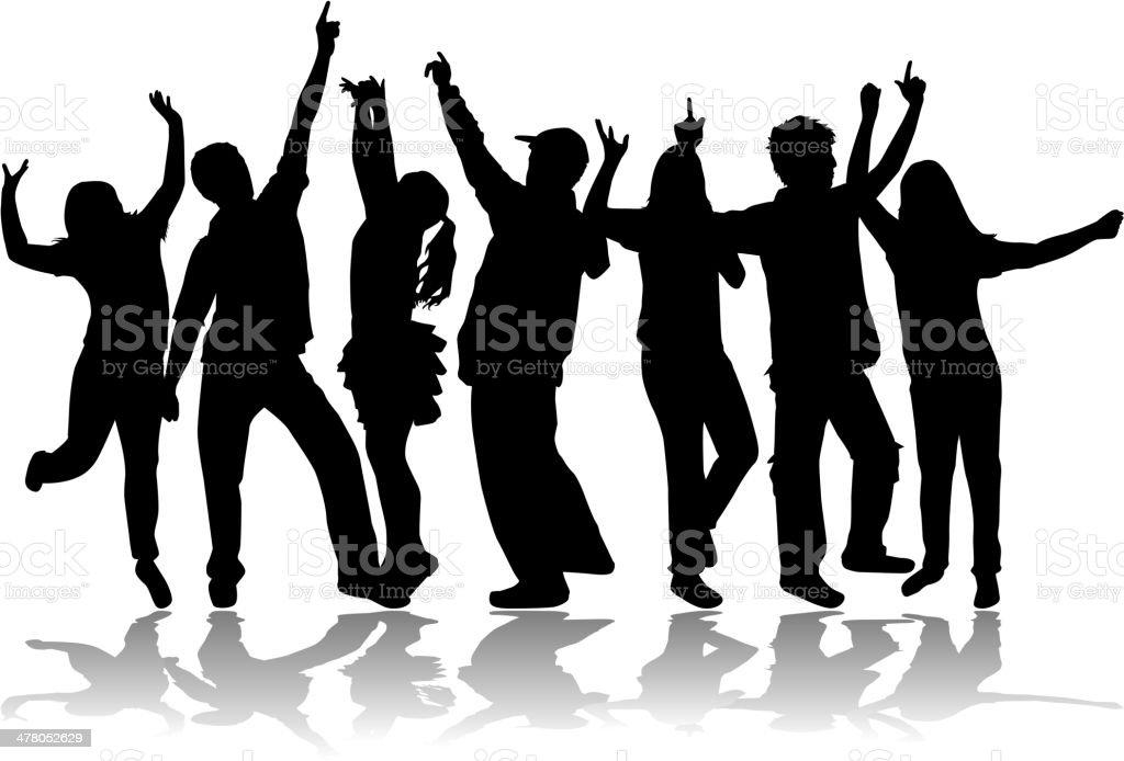 Dancing group people vector art illustration