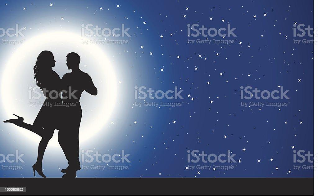 Dancing in the Moonlight vector art illustration