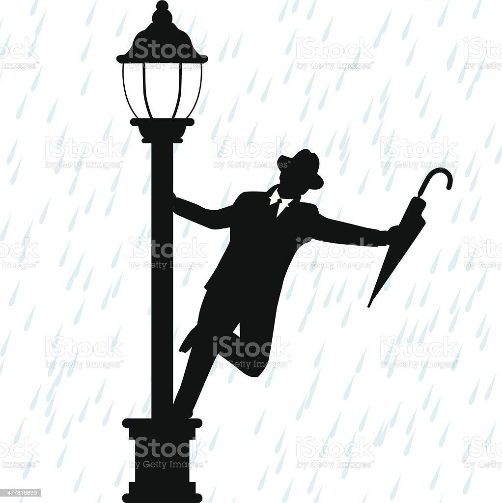 Dancing in the Rain vector art illustration