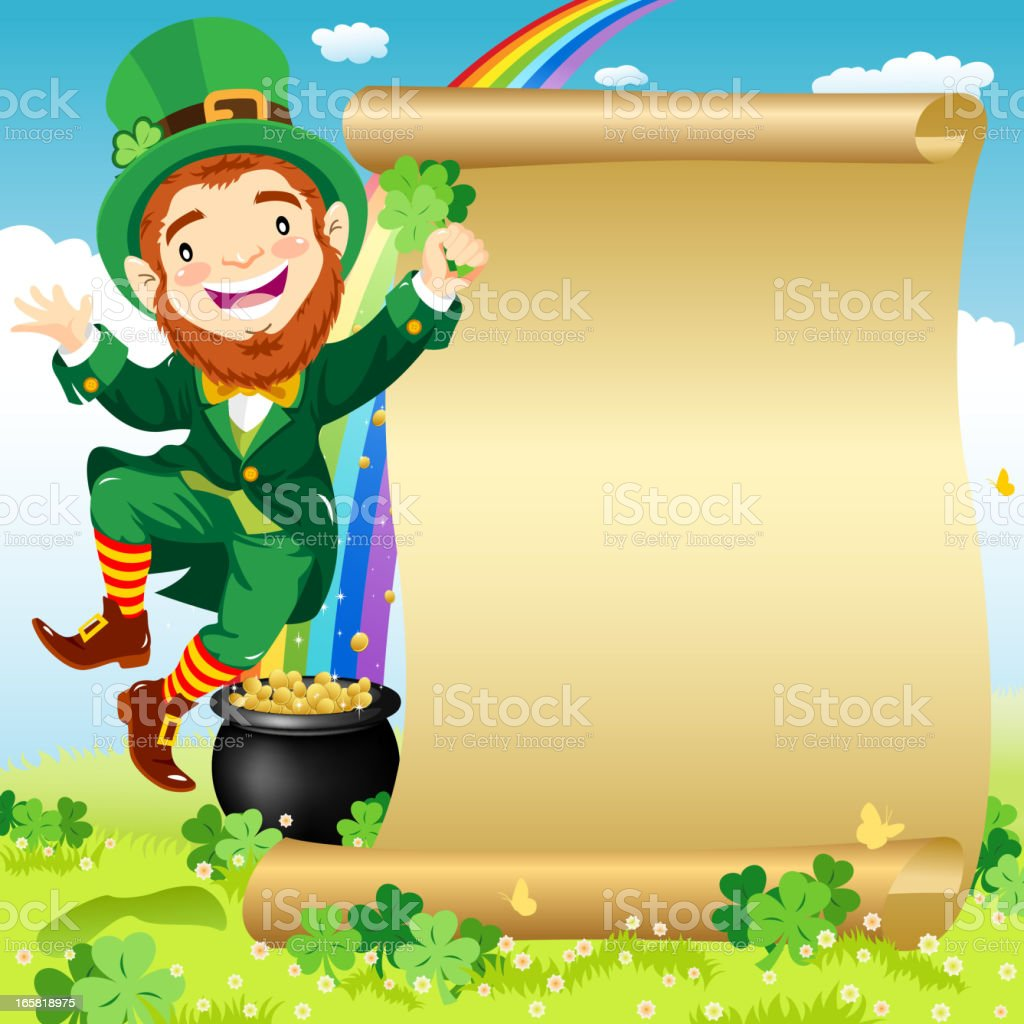 Dancing Leprechaun Invitation royalty-free stock vector art