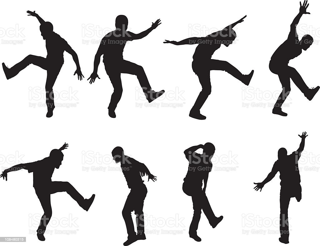 Dancing like crazy vector art illustration