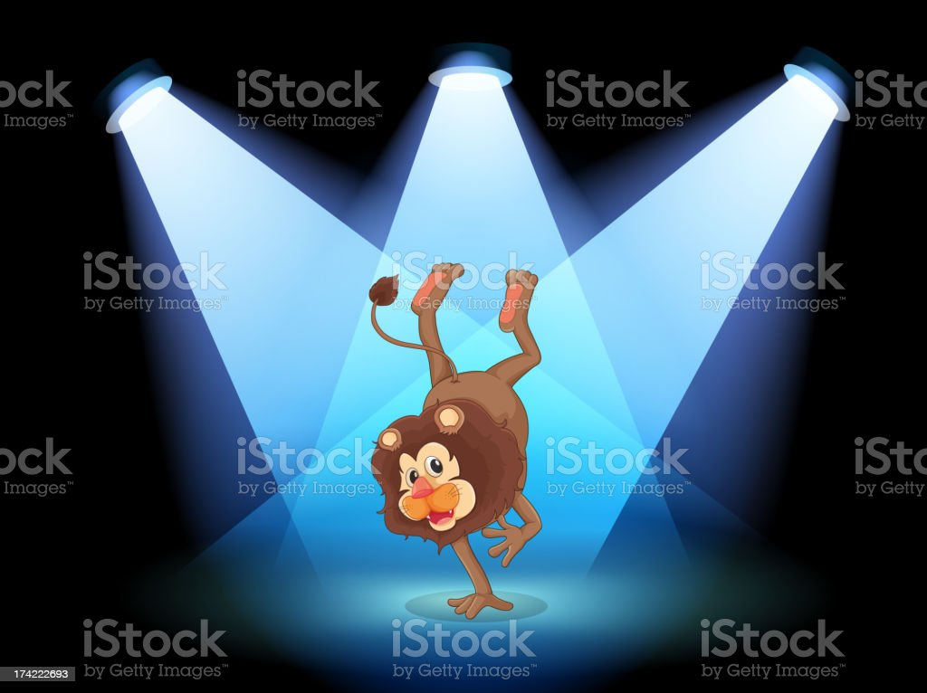 Dancing lion in the middle of stage royalty-free stock vector art