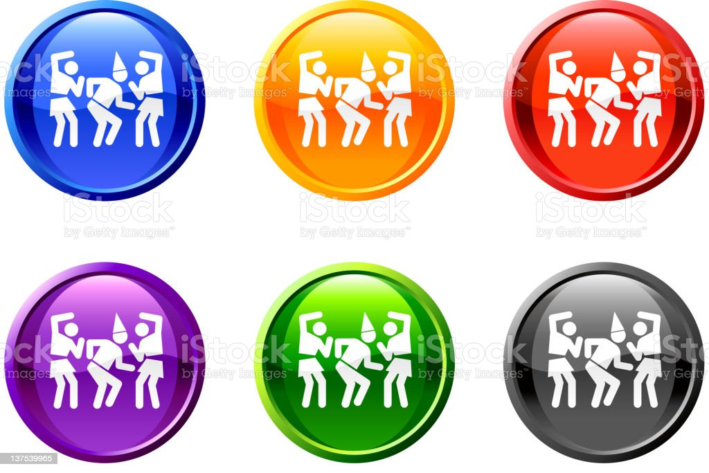 dancing partying button royalty free vector art vector art illustration