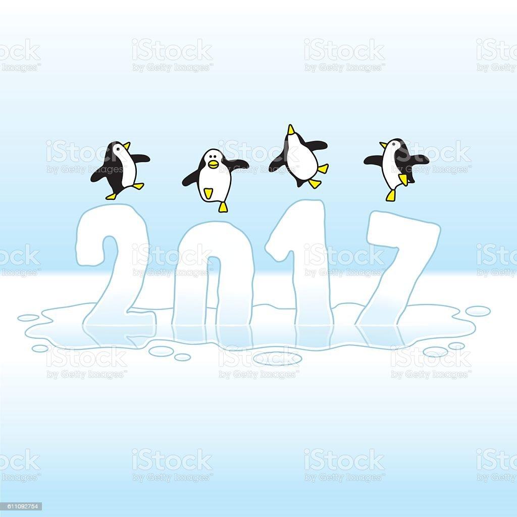 Dancing Penguins Celebrating New Year 2017 on Melting Ice vector art illustration