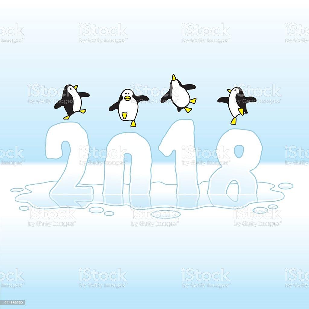 Dancing Penguins Celebrating New Year 2018 on Melting Ice vector art illustration