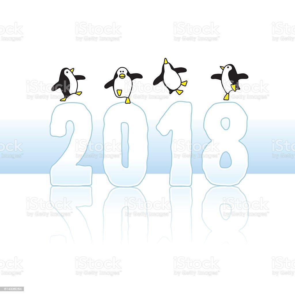 Dancing Penguins Celebrating on Year 2018 vector art illustration