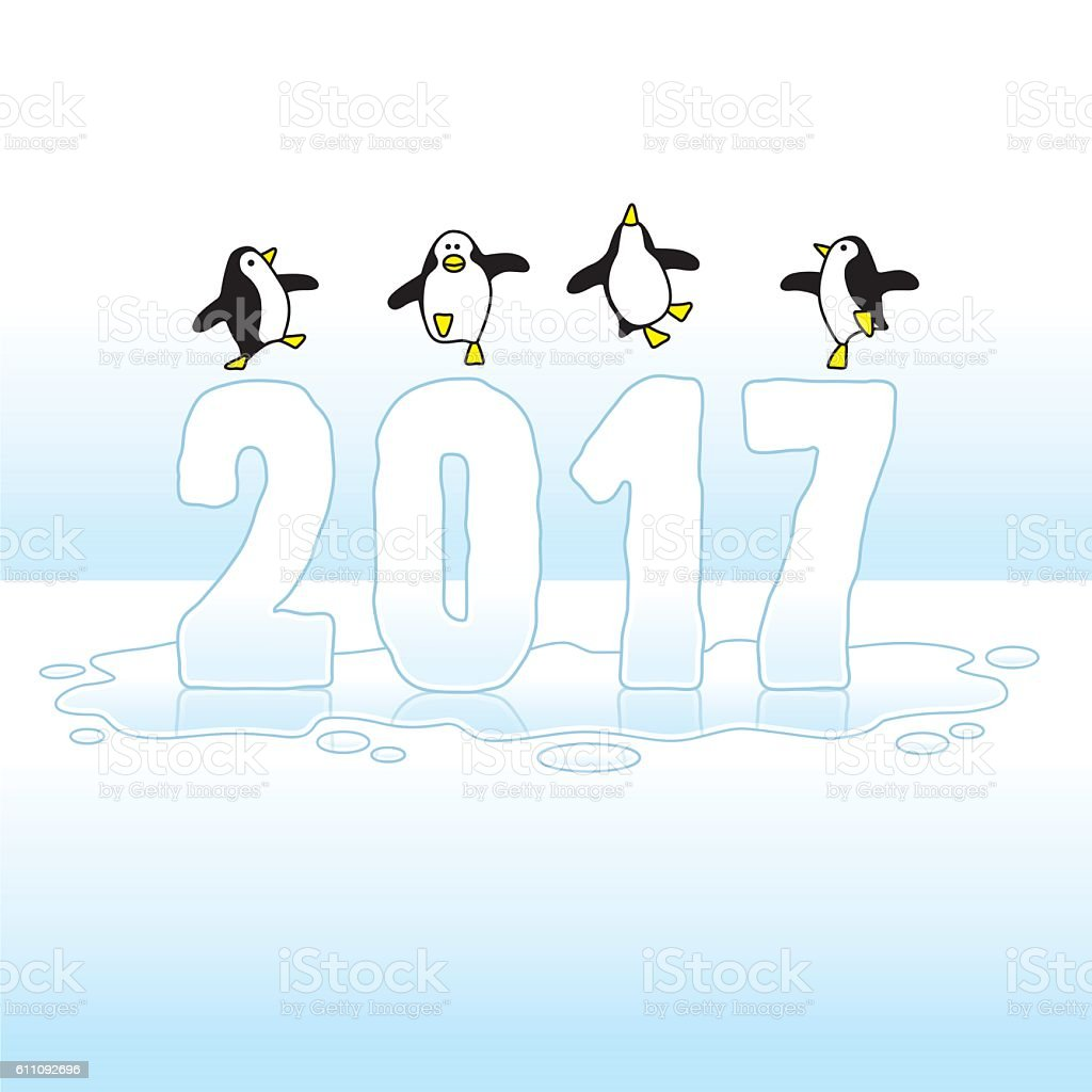 Dancing Penguins Celebrating Year 2017 on Ice vector art illustration