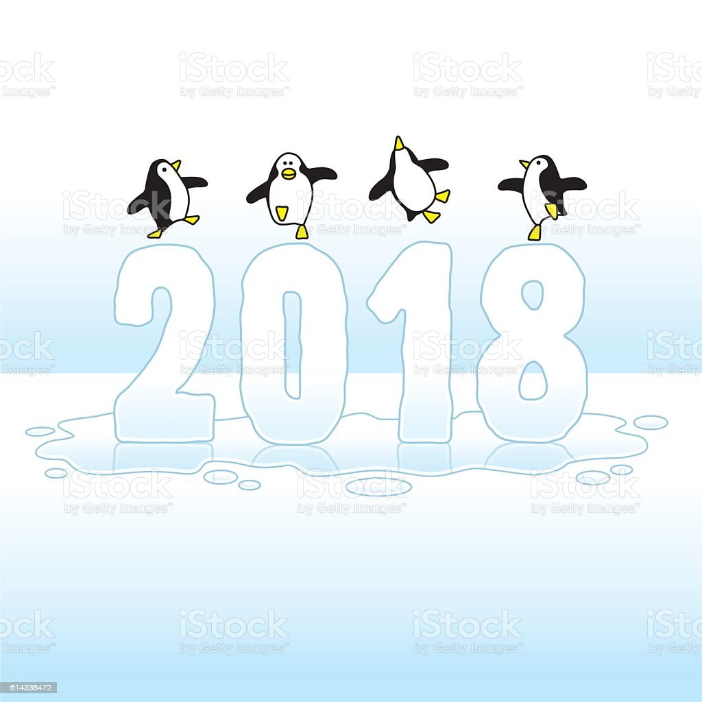 Dancing Penguins Celebrating Year 2018 on Ice vector art illustration