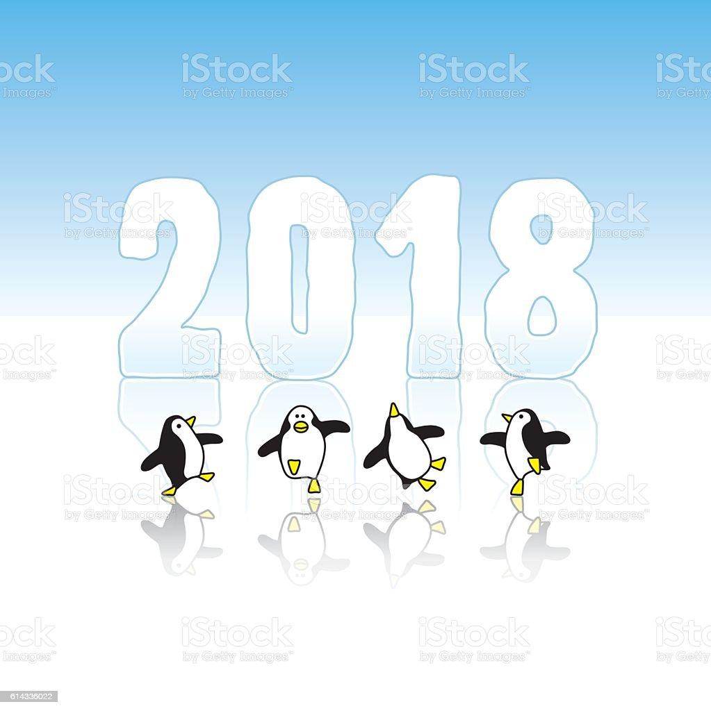 Dancing Penguins Celebrating Year 2018 vector art illustration