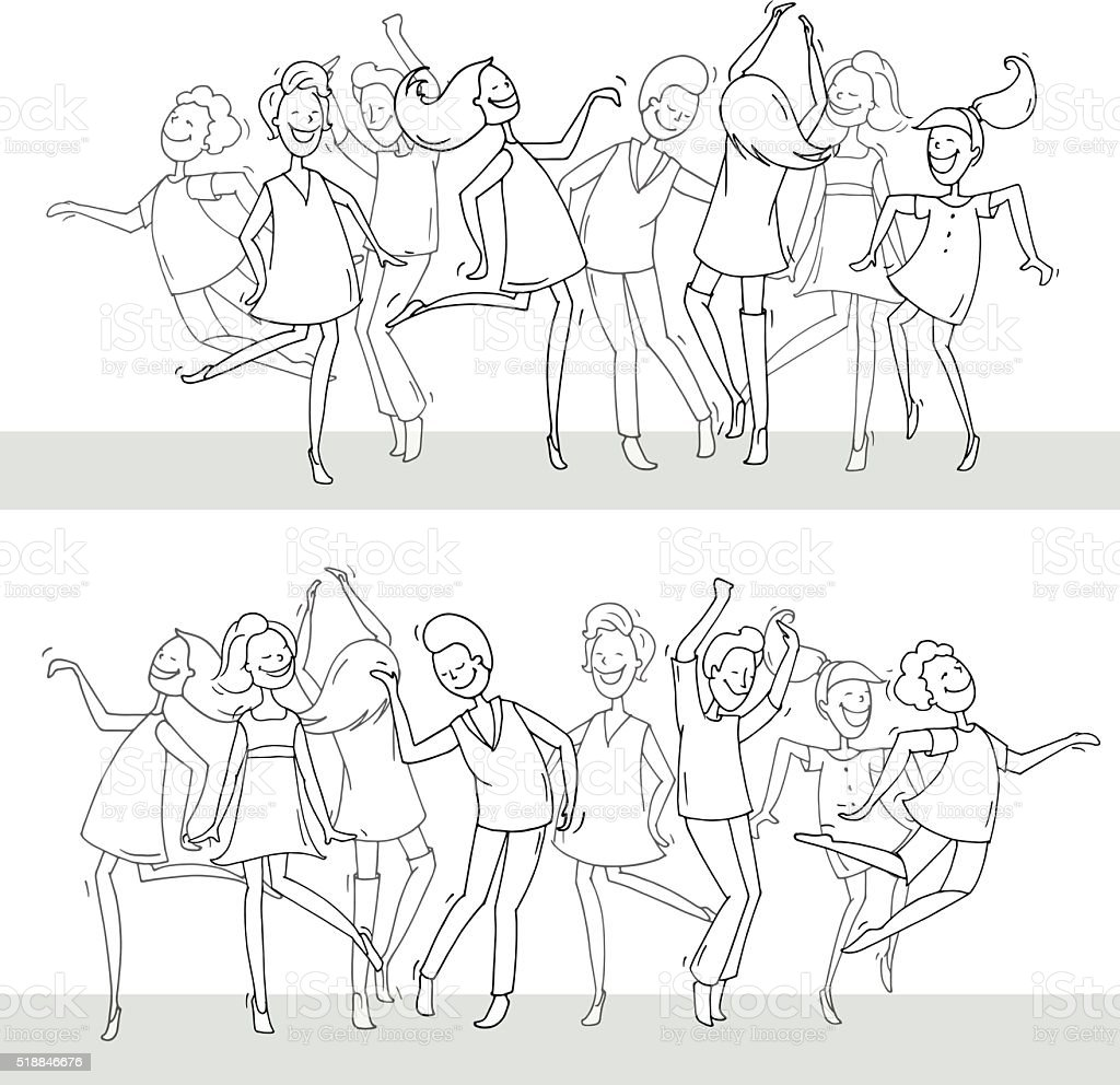 dancing people in different poses on the dance floor. vector art illustration