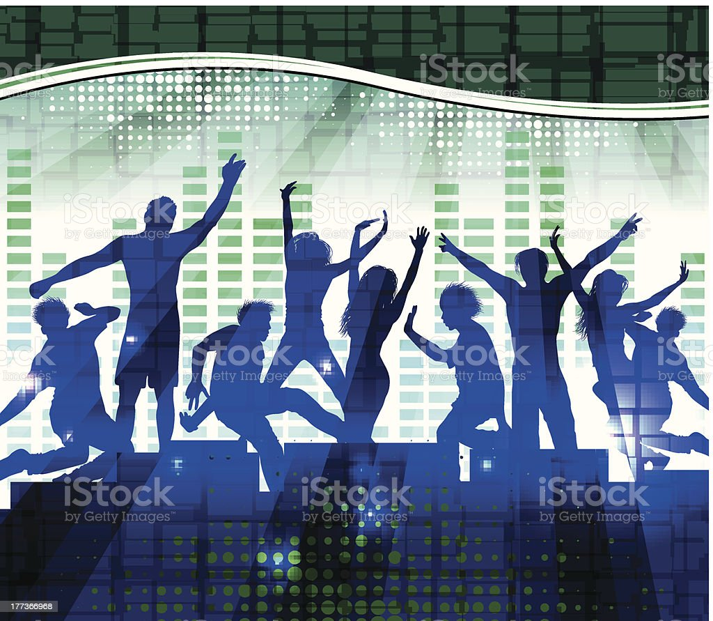 Dancing people, music background royalty-free stock vector art