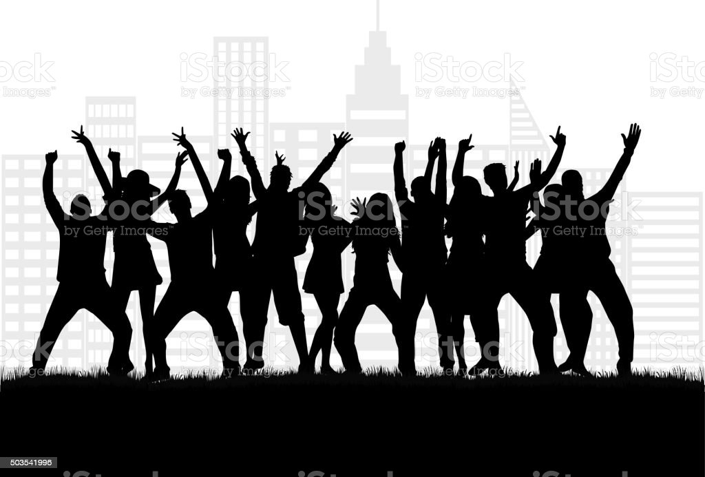 Dancing people silhouettes. vector art illustration