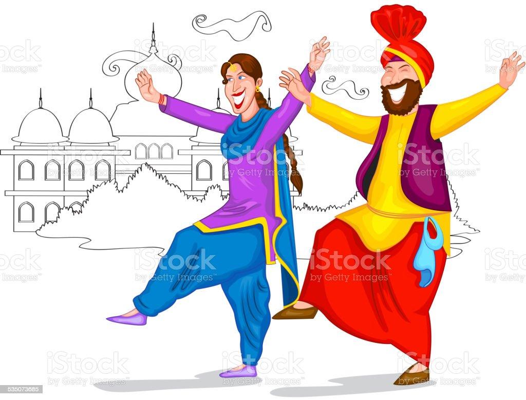 Dancing Punjabi couple vector art illustration