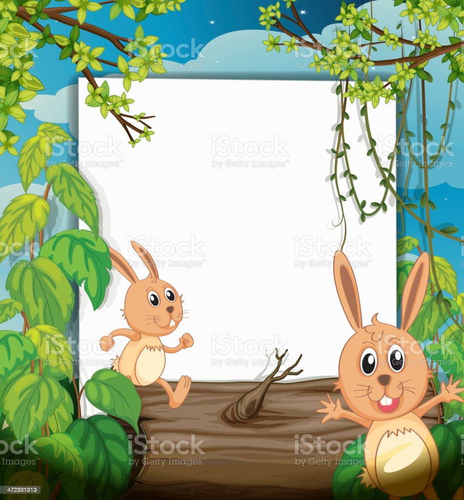 Dancing rabbits and a white board royalty-free stock vector art