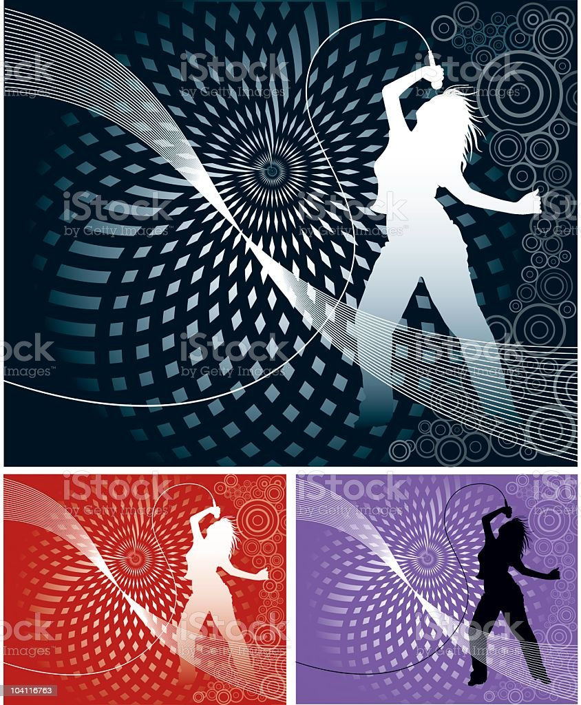 Dancing Retro Girl vector art illustration