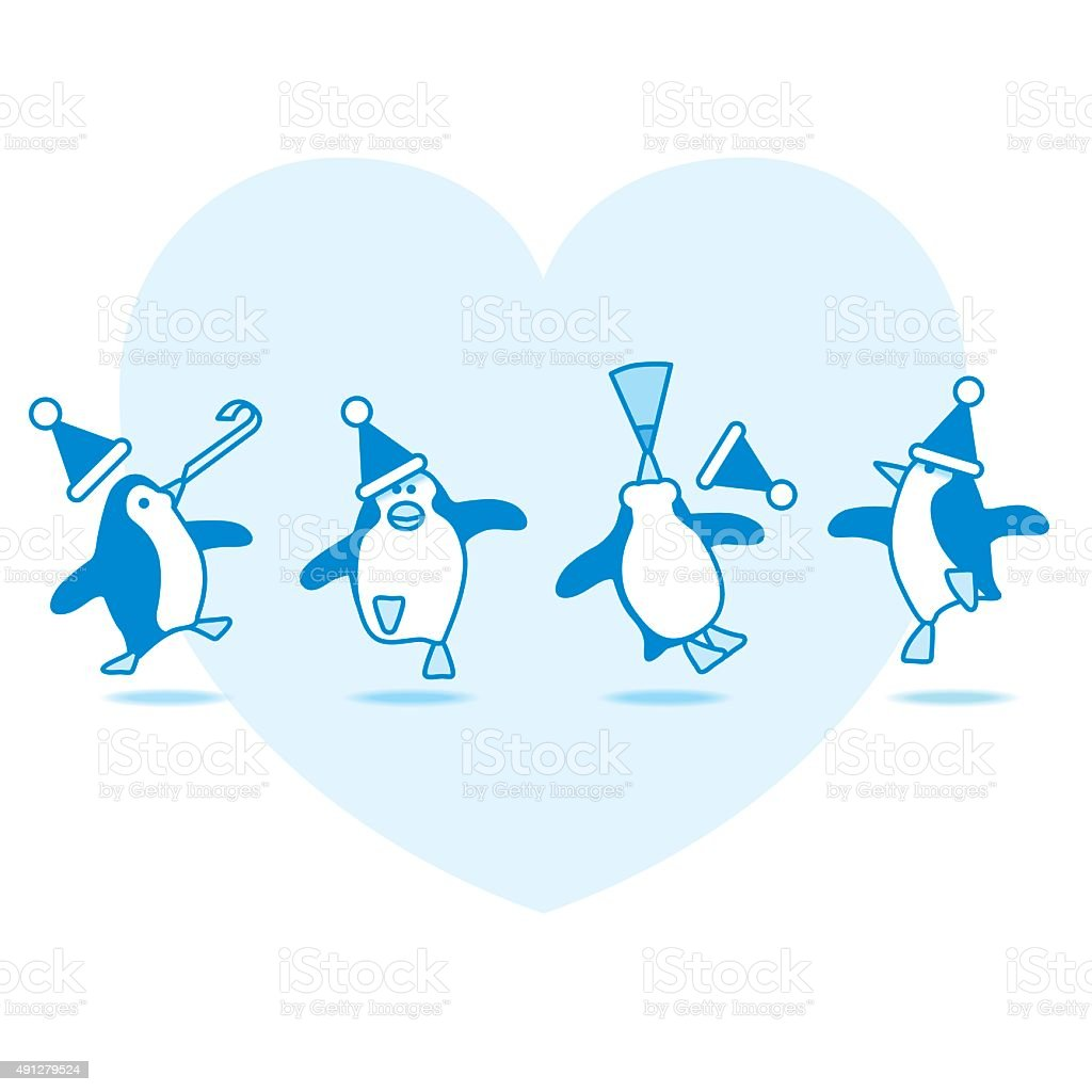 Dancing Santa Penguins Partying on Blue Heart vector art illustration