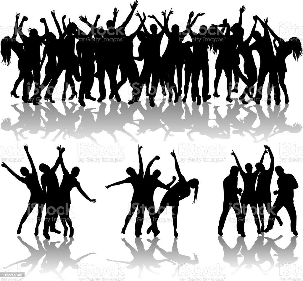 dancing set vector art illustration
