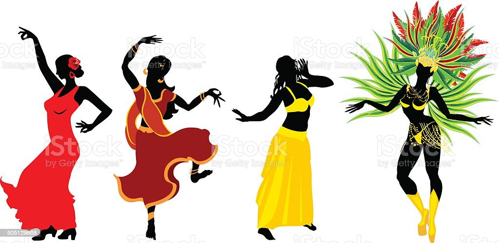 Dancing set vector art illustration
