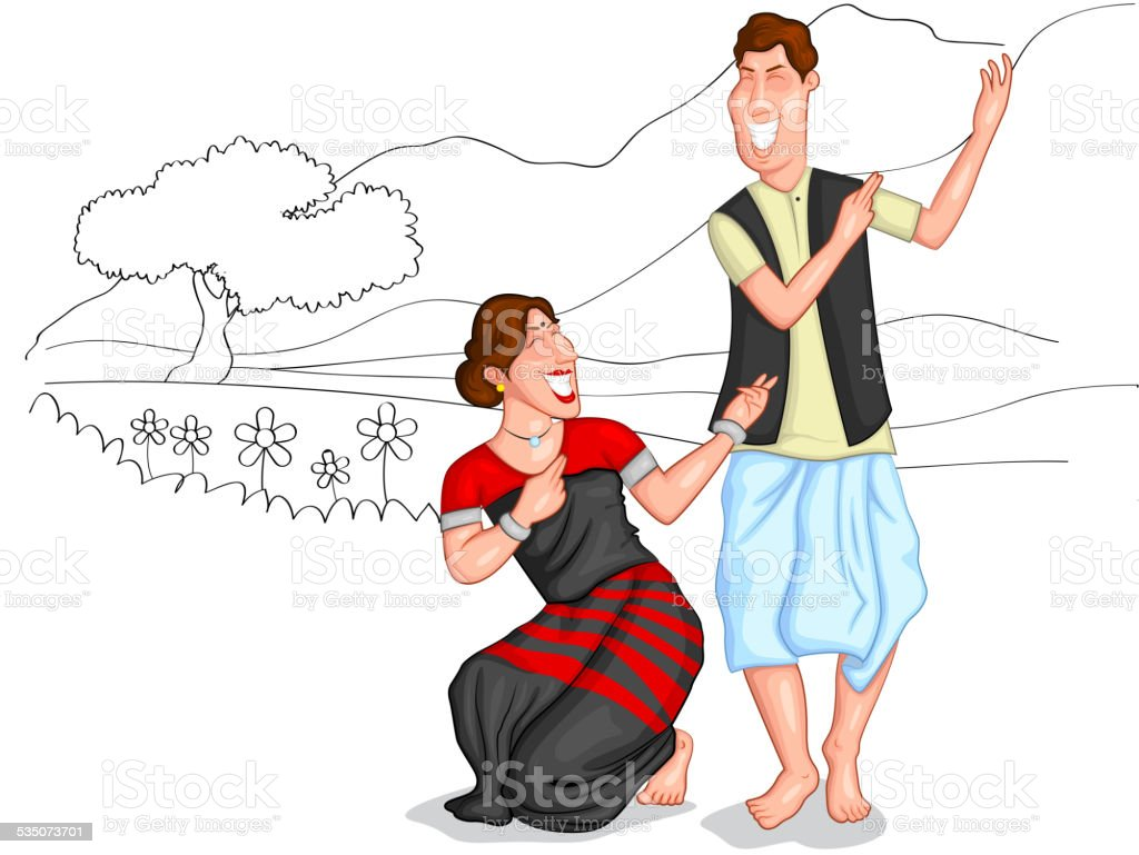 Dancing Sikkimi couple vector art illustration
