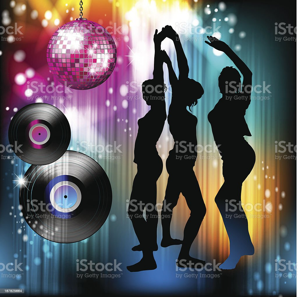 Dancing silhouettes and disco light royalty-free stock vector art