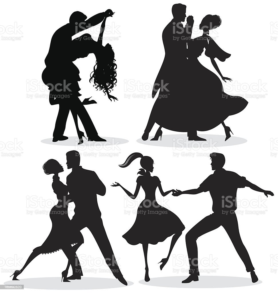 Dancing Silhouettes vector art illustration