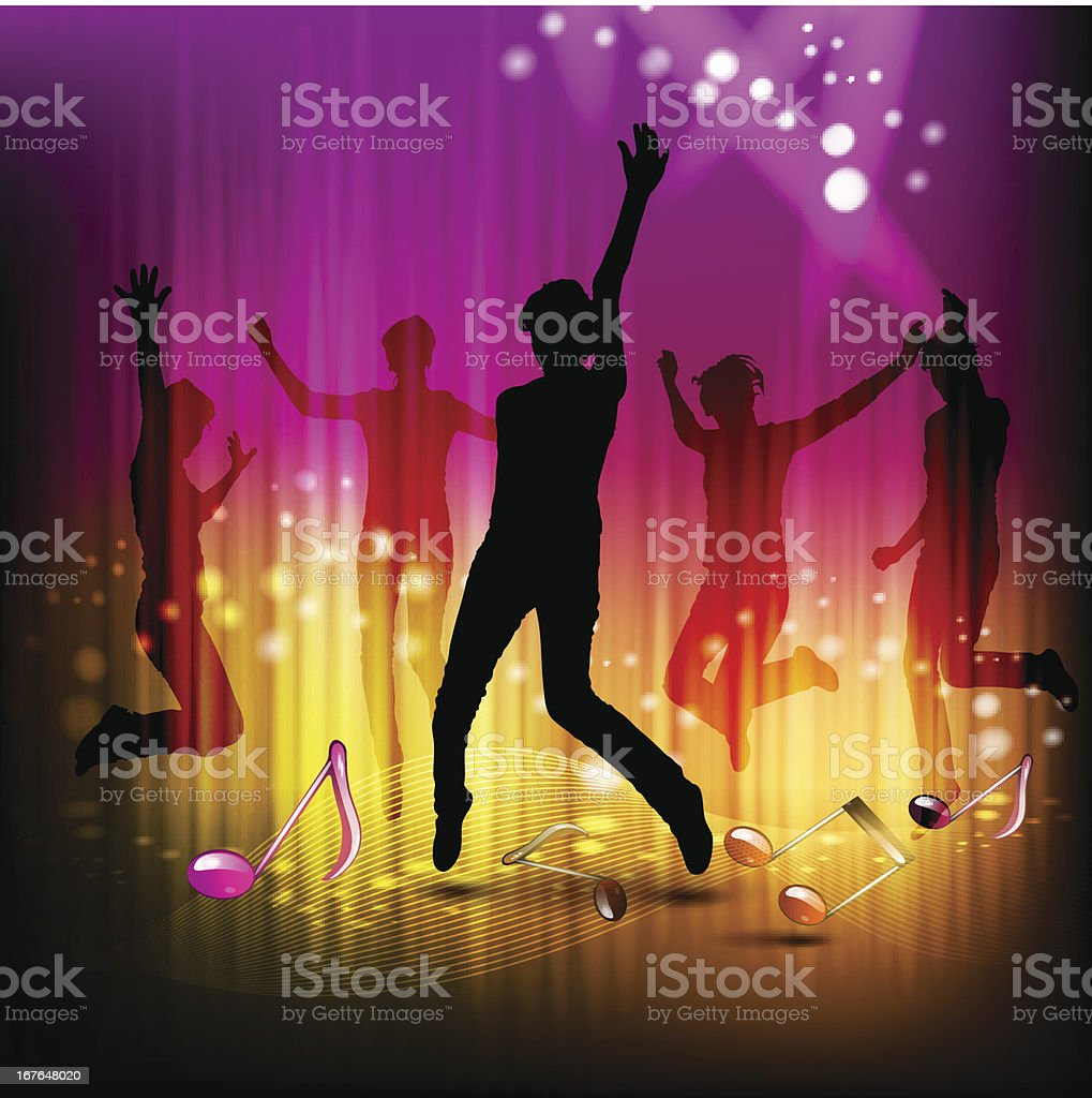 Dancing silhouettes royalty-free stock vector art