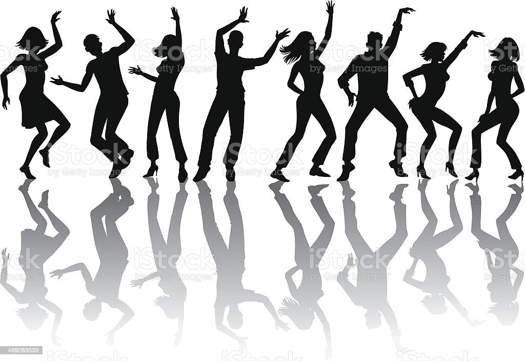 Dancing Silhouettes With Shadows vector art illustration