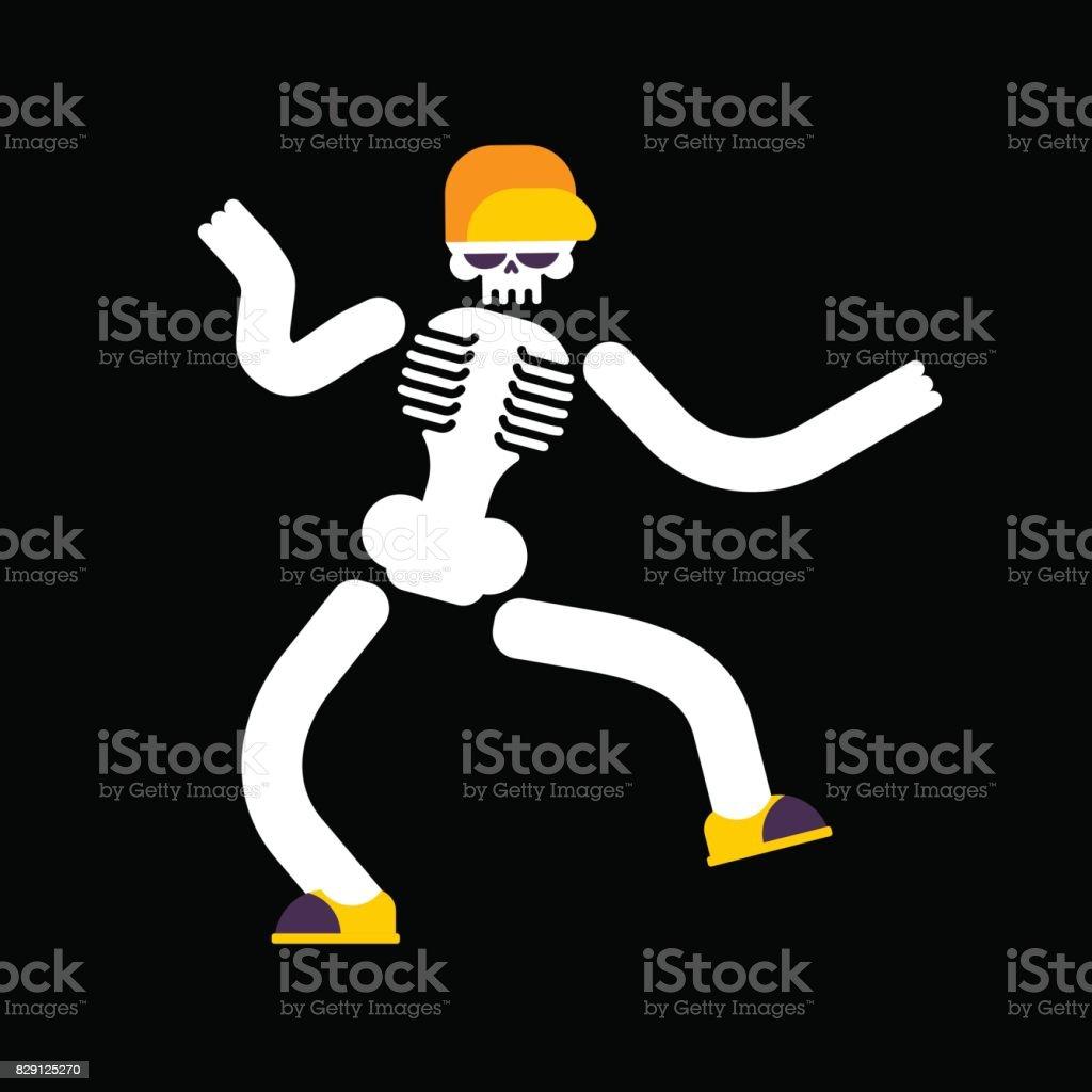 Dancing skeleton isolated. Skull dances street dances vector art illustration