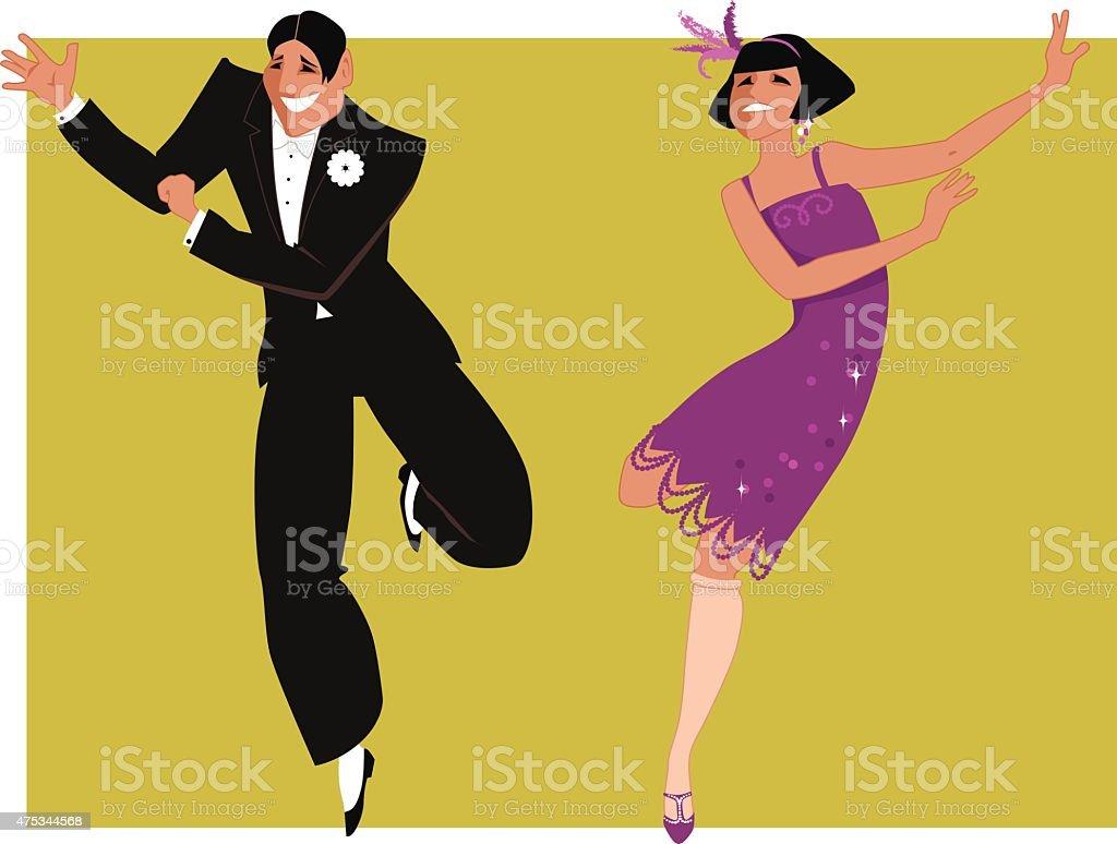 Dancing the Charleston vector art illustration