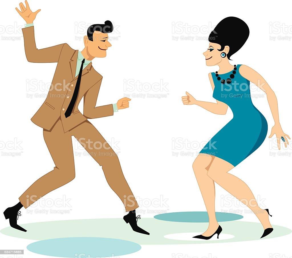 Dancing twist vector art illustration