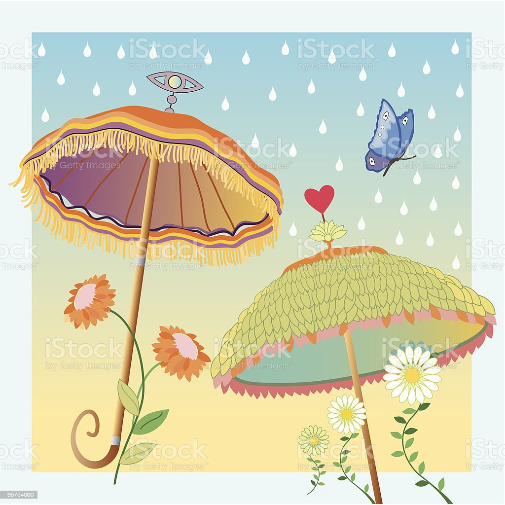 Dancing Umbrellas royalty-free stock vector art