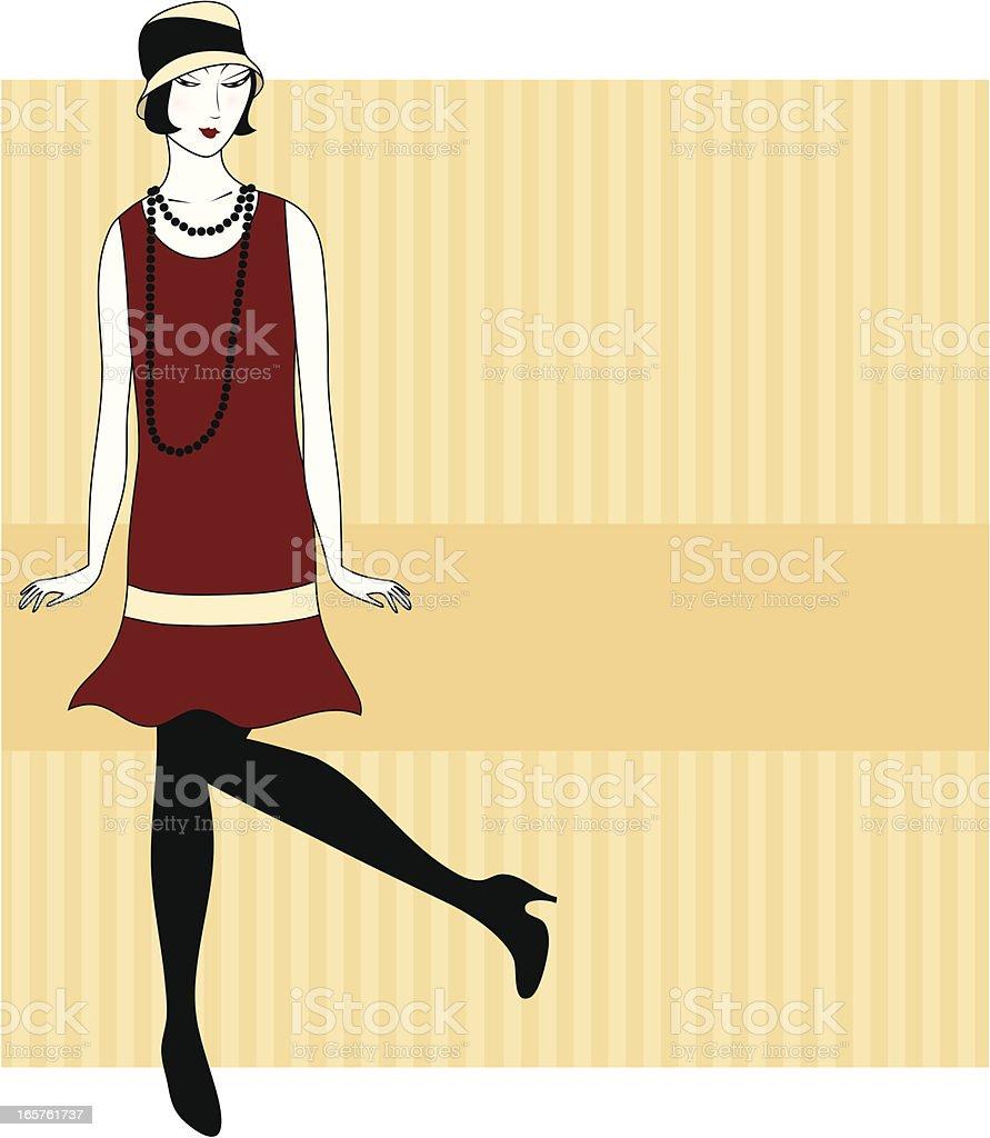 Dancing vintage woman vector art illustration