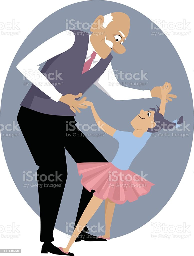 Dancing with grandpa vector art illustration