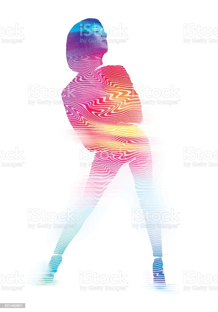 Dancing Woman with Colored Pattern vector art illustration