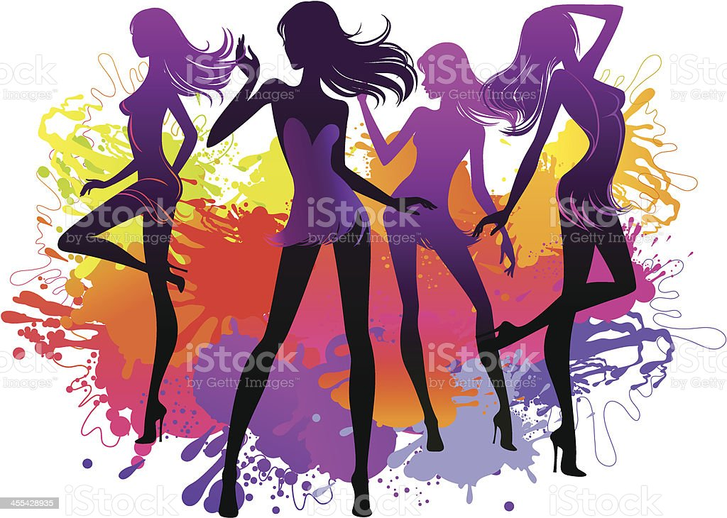 Dancing women silhouette royalty-free stock vector art