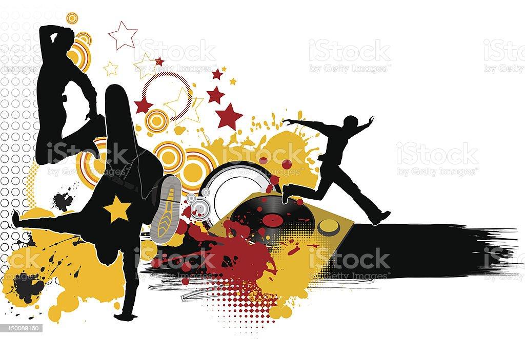 Dancing youth men. Music city. royalty-free stock vector art