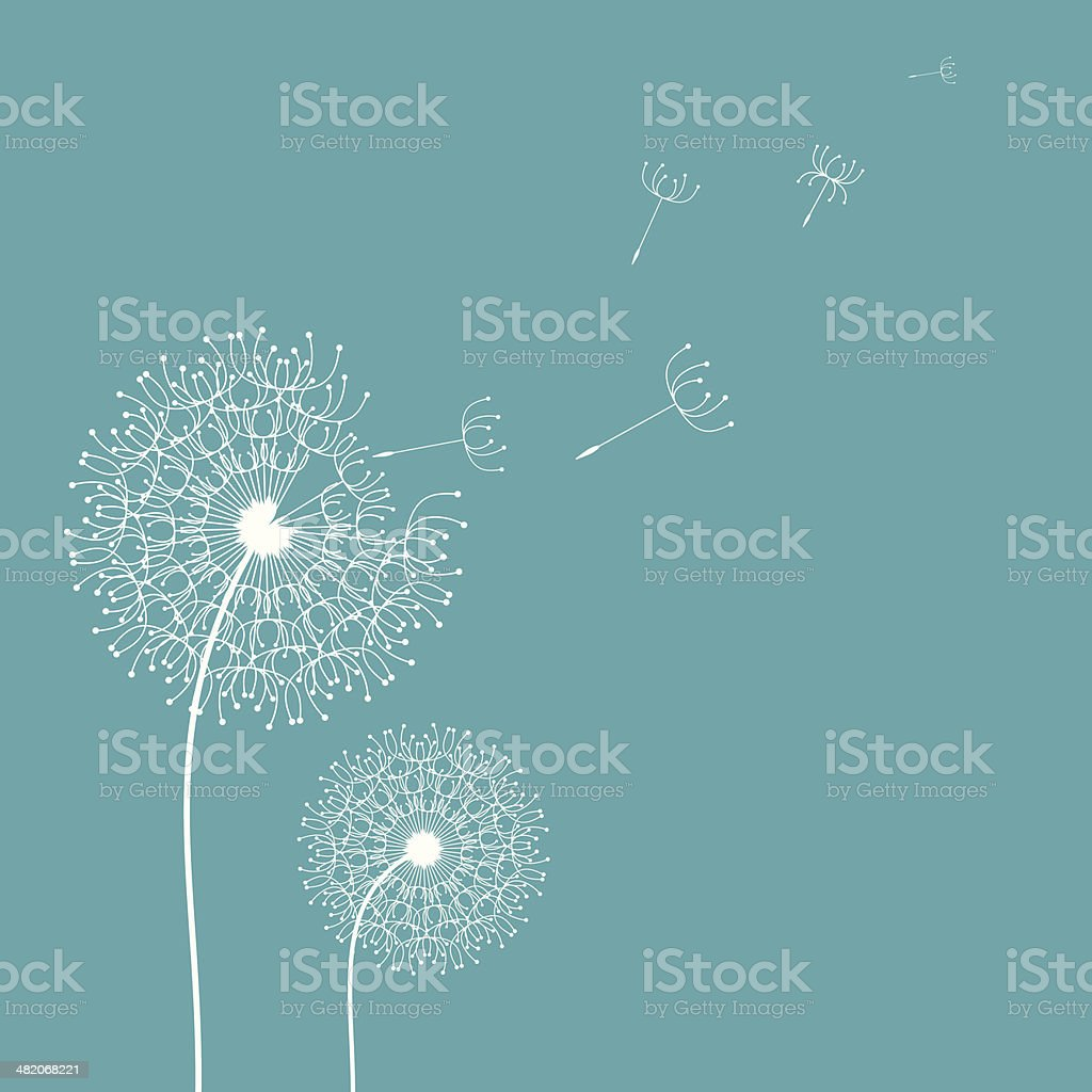 Dandelion in the wind background vector art illustration