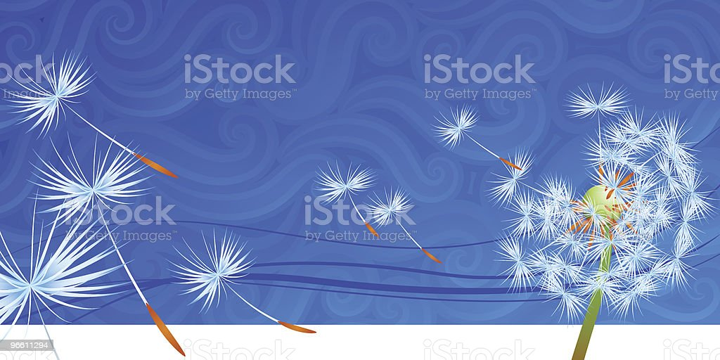 Dandelion seeds blowing away in the wind vector art illustration