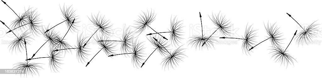 Dandelion seeds in the wind royalty-free stock vector art
