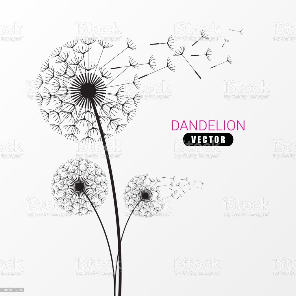 Dandelion silhouette. Flying dandelion buds. Modern design. Vector vector art illustration
