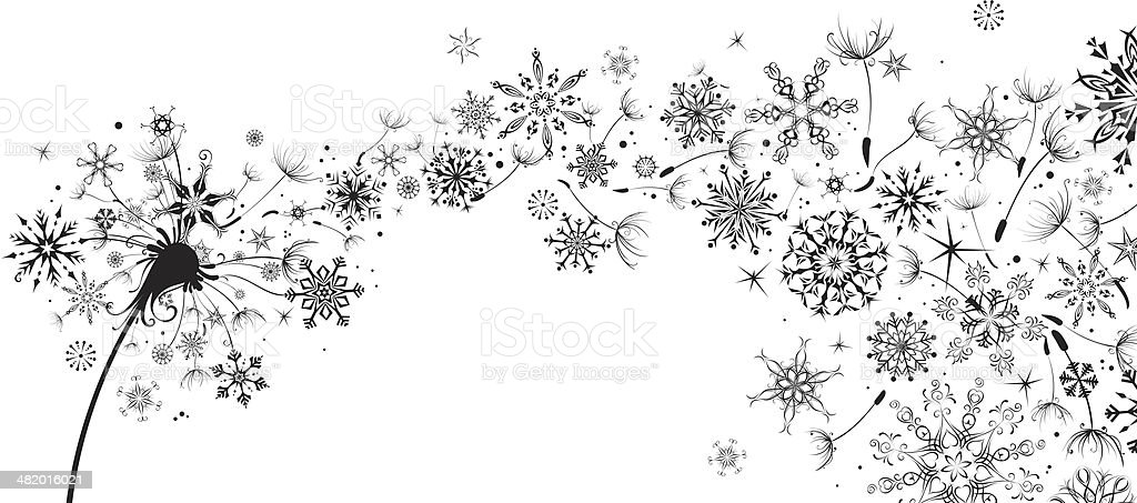 Dandelion with snowflakes vector art illustration